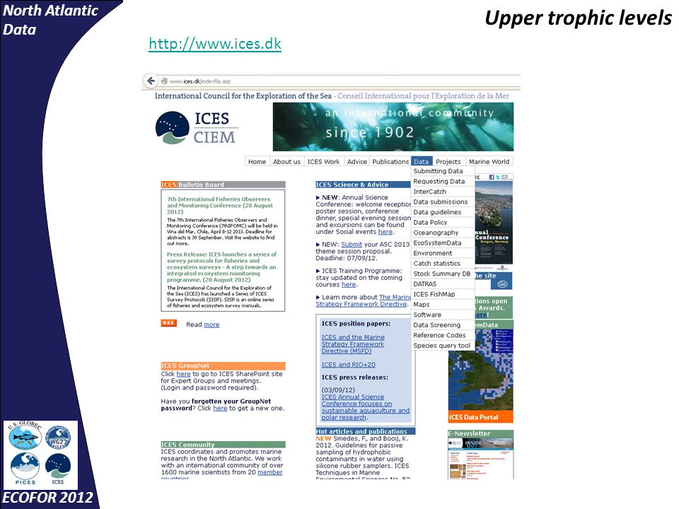 North Atlantic Data ECOFOR 2012 http://www.ices.dk Upper trophic levels