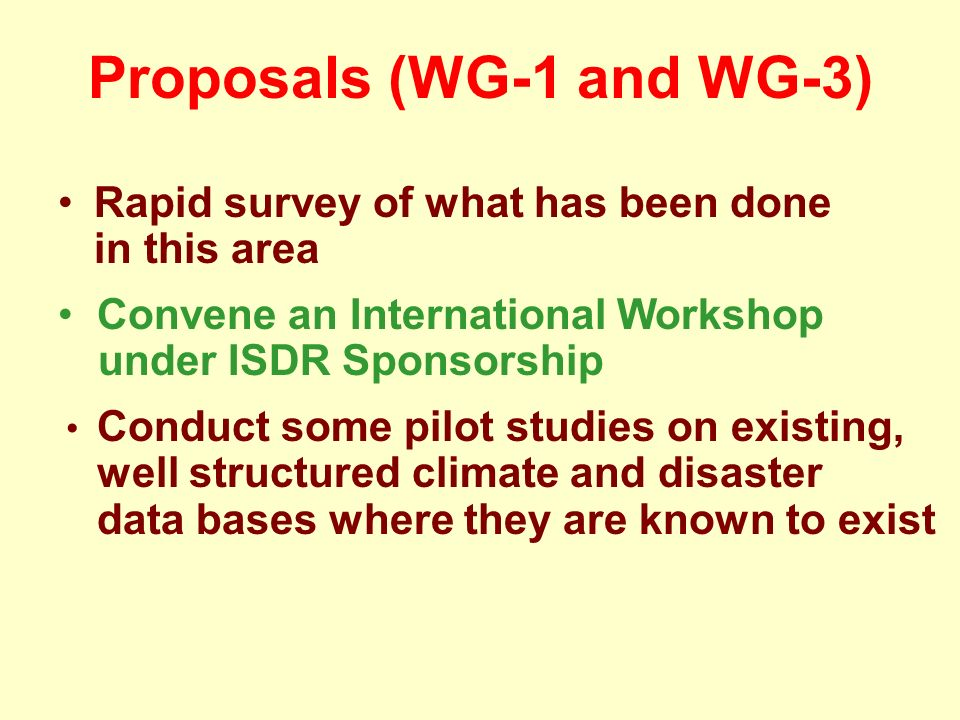 Proposals (WG-1 and WG-3) Rapid survey of what has been done in this area Convene an International Workshop under ISDR Sponsorship Conduct some pilot studies on existing, well structured climate and disaster data bases where they are known to exist