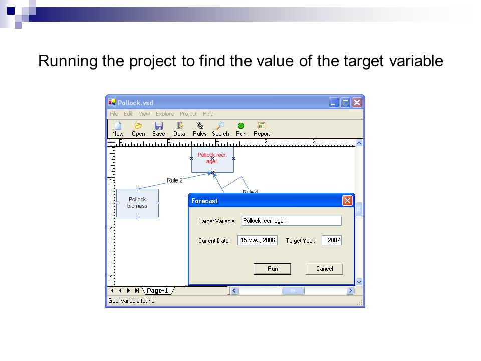 Running the project to find the value of the target variable
