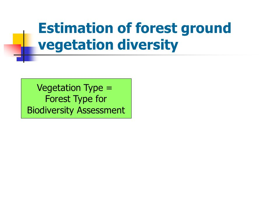 Estimation of forest ground vegetation diversity Vegetation Type = Forest Type for Biodiversity Assessment