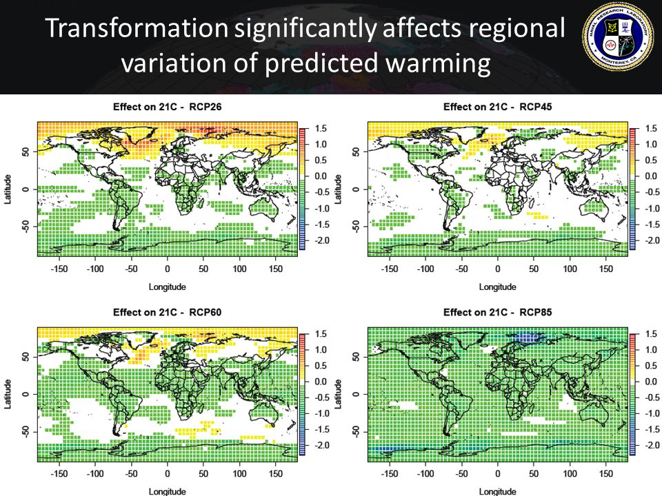 Transformation significantly affects regional variation of predicted warming