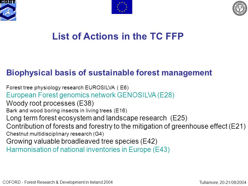 COFORD - Forest Research & Development in Ireland 2004Tullamore, 20-21/09/2004 List of Actions in the TC FFP Biophysical basis of sustainable forest management Forest tree physiology research EUROSILVA ( E6) European Forest genomics network GENOSILVA (E28) Woody root processes (E38) Bark and wood boring insects in living trees (E16) Long term forest ecosystem and landscape research (E25) Contribution of forests and forestry to the mitigation of greenhouse effect (E21) Chestnut multidisciplinary research (G4) Growing valuable broadleaved tree species (E42) Harmonisation of national inventories in Europe (E43)
