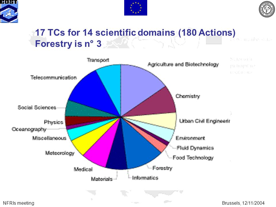 NFRIs meetingBrussels, 12/11/2004 17 TCs for 14 scientific domains (180 Actions) Forestry is n° 3