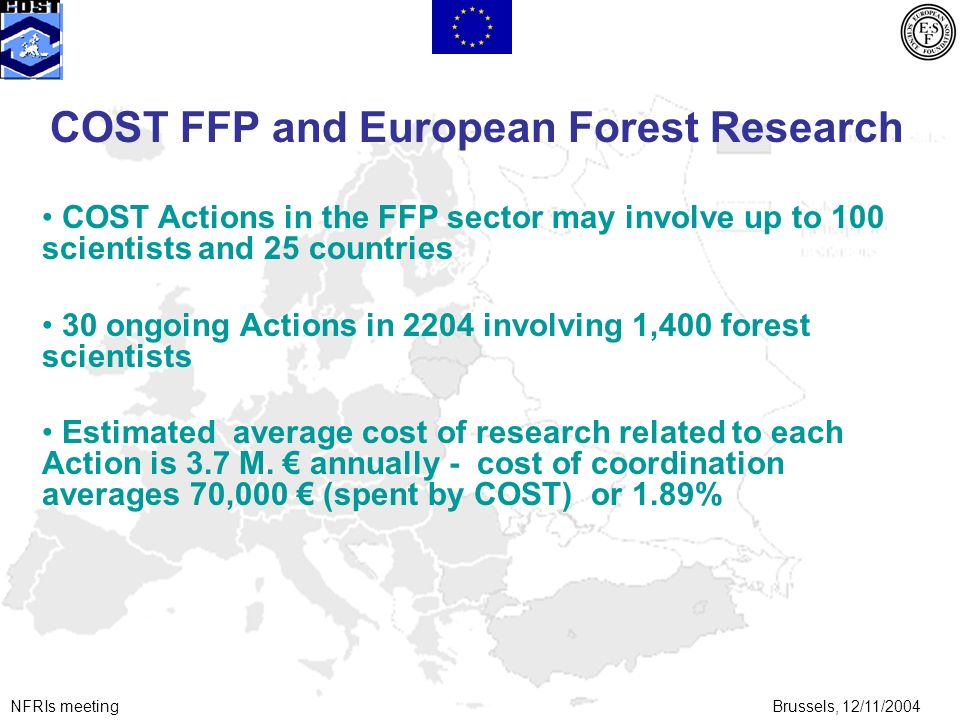 NFRIs meetingBrussels, 12/11/2004 COST FFP and European Forest Research COST Actions in the FFP sector may involve up to 100 scientists and 25 countries 30 ongoing Actions in 2204 involving 1,400 forest scientists Estimated average cost of research related to each Action is 3.7 M.