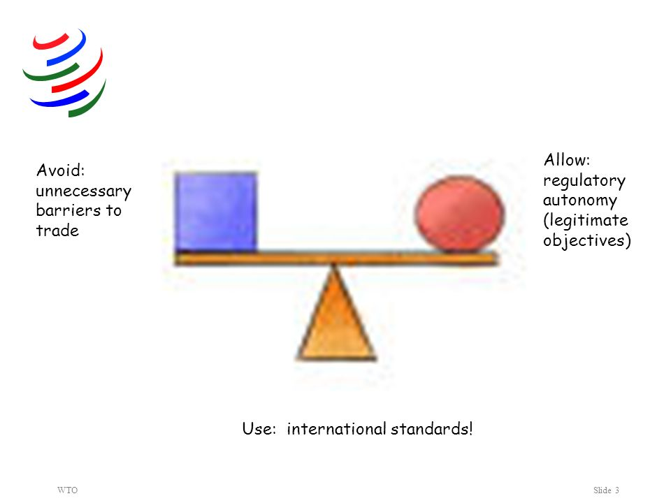 WTOSlide 3 Avoid: unnecessary barriers to trade Allow: regulatory autonomy (legitimate objectives) Use: international standards!