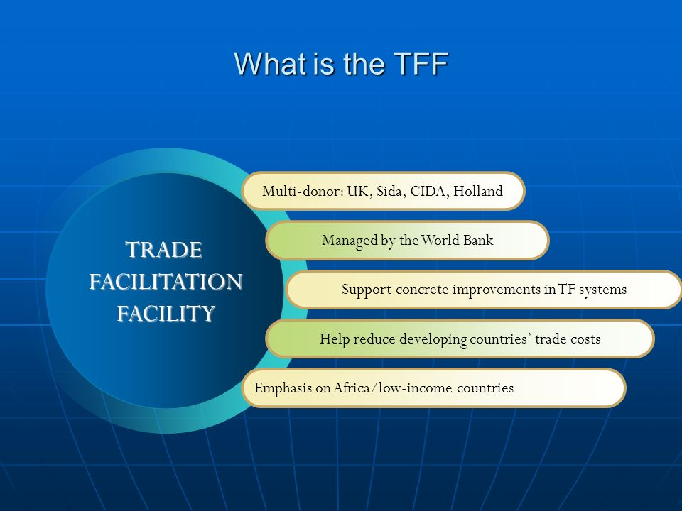 What is the TFF Multi-donor: UK, Sida, CIDA, Holland Managed by the World Bank Support concrete improvements in TF systems Help reduce developing countries trade costs Emphasis on Africa/low-income countries TRADEFACILITATIONFACILITY