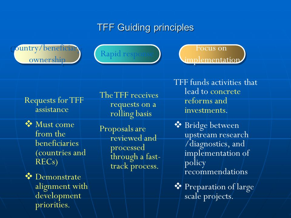 TFF Guiding principles Country/beneficiary ownership Country/beneficiary ownership Rapid response Focus on implementation Focus on implementation Requests for TFF assistance Must come from the beneficiaries (countries and RECs) Demonstrate alignment with development priorities.