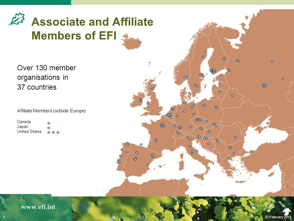 22 February 20142 Over 130 member organisations in 37 countries Affiliate Members (outside Europe) Canada Japan United States Associate and Affiliate Members of EFI