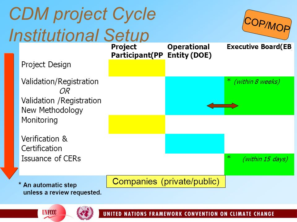 CDM project Cycle Institutional Setup COP/MOP Companies (private/public)