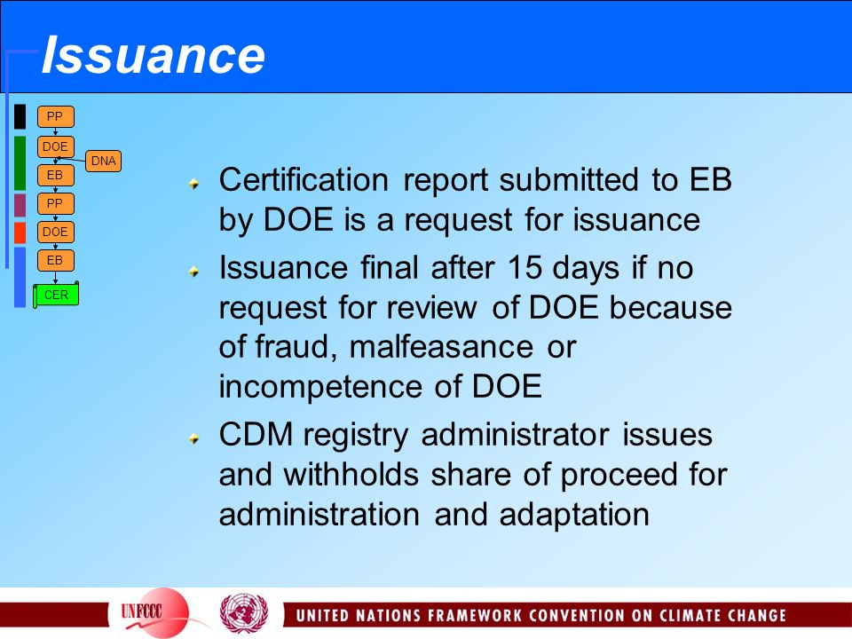 PP DOE EB PP DOE EB DNA CER Issuance Certification report submitted to EB by DOE is a request for issuance Issuance final after 15 days if no request for review of DOE because of fraud, malfeasance or incompetence of DOE CDM registry administrator issues and withholds share of proceed for administration and adaptation