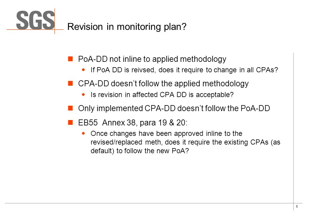 6 Revision in monitoring plan.