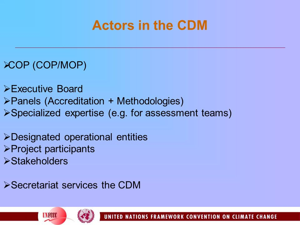 Actors in the CDM COP (COP/MOP) Executive Board Panels (Accreditation + Methodologies) Specialized expertise (e.g.