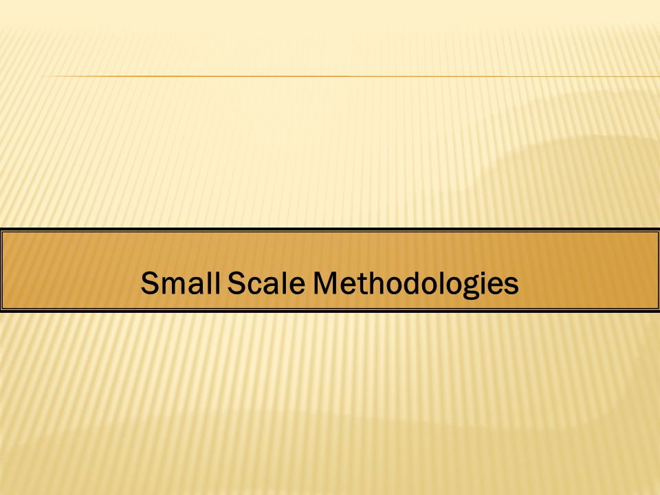 Small Scale Methodologies