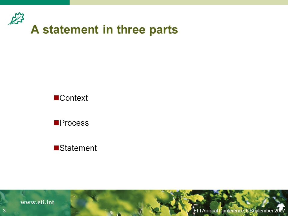 EFI Annual Conference, 6 September 20073 A statement in three parts Context Process Statement