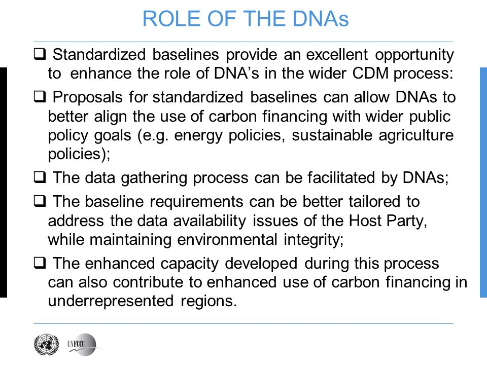 ROLE OF THE DNAs Standardized baselines provide an excellent opportunity to enhance the role of DNAs in the wider CDM process: Proposals for standardized baselines can allow DNAs to better align the use of carbon financing with wider public policy goals (e.g.