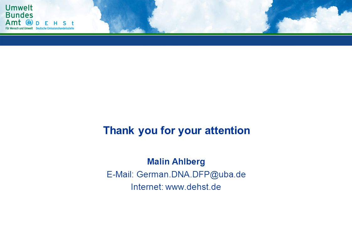 Thank you for your attention Malin Ahlberg   Internet: