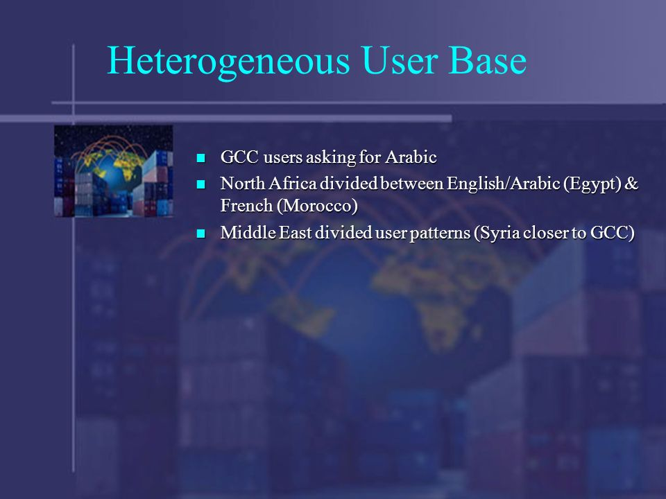 Heterogeneous User Base GCC users asking for Arabic GCC users asking for Arabic North Africa divided between English/Arabic (Egypt) & French (Morocco) North Africa divided between English/Arabic (Egypt) & French (Morocco) Middle East divided user patterns (Syria closer to GCC) Middle East divided user patterns (Syria closer to GCC)