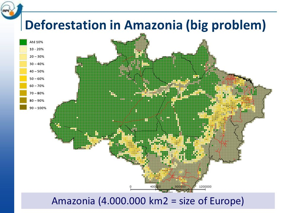 Até 10% 10 - 20% 20 – 30% 30 – 40% 40 – 50% 50 – 60% 60 – 70% 70 – 80% 80 – 90% 90 – 100% Amazonia (4.000.000 km2 = size of Europe) Deforestation in Amazonia (big problem)