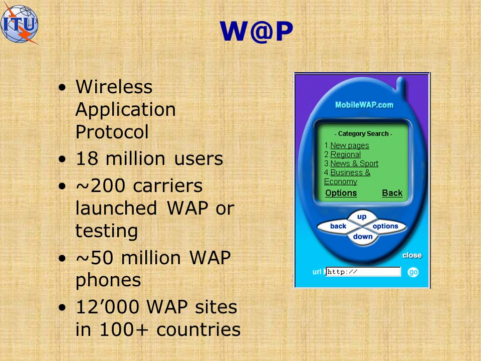 W@P Wireless Application Protocol 18 million users ~200 carriers launched WAP or testing ~50 million WAP phones 12000 WAP sites in 100+ countries
