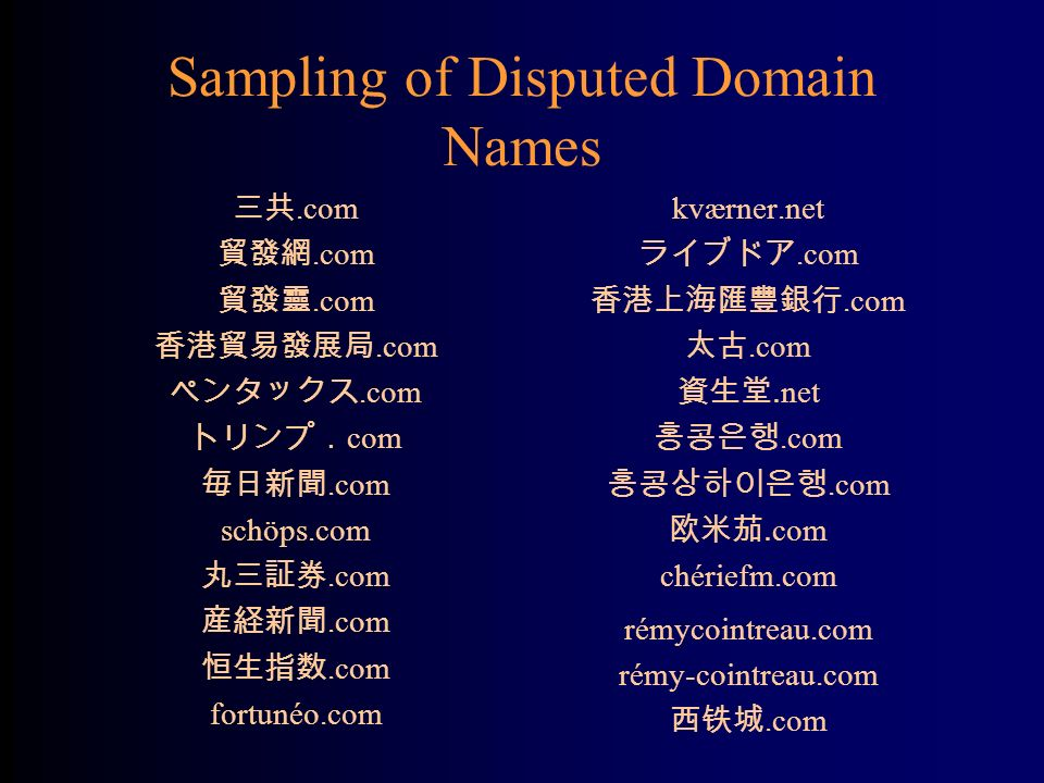 Sampling of Disputed Domain Names.com com.com schöps.com.com fortunéo.com kværner.net.com.