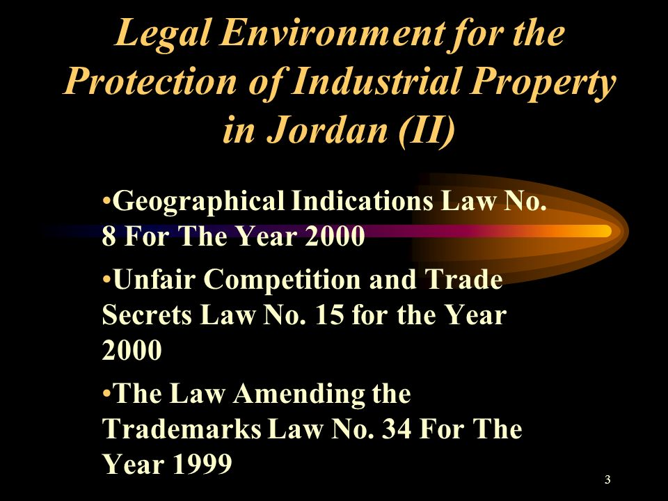 3 Legal Environment for the Protection of Industrial Property in Jordan (II) Geographical Indications Law No.