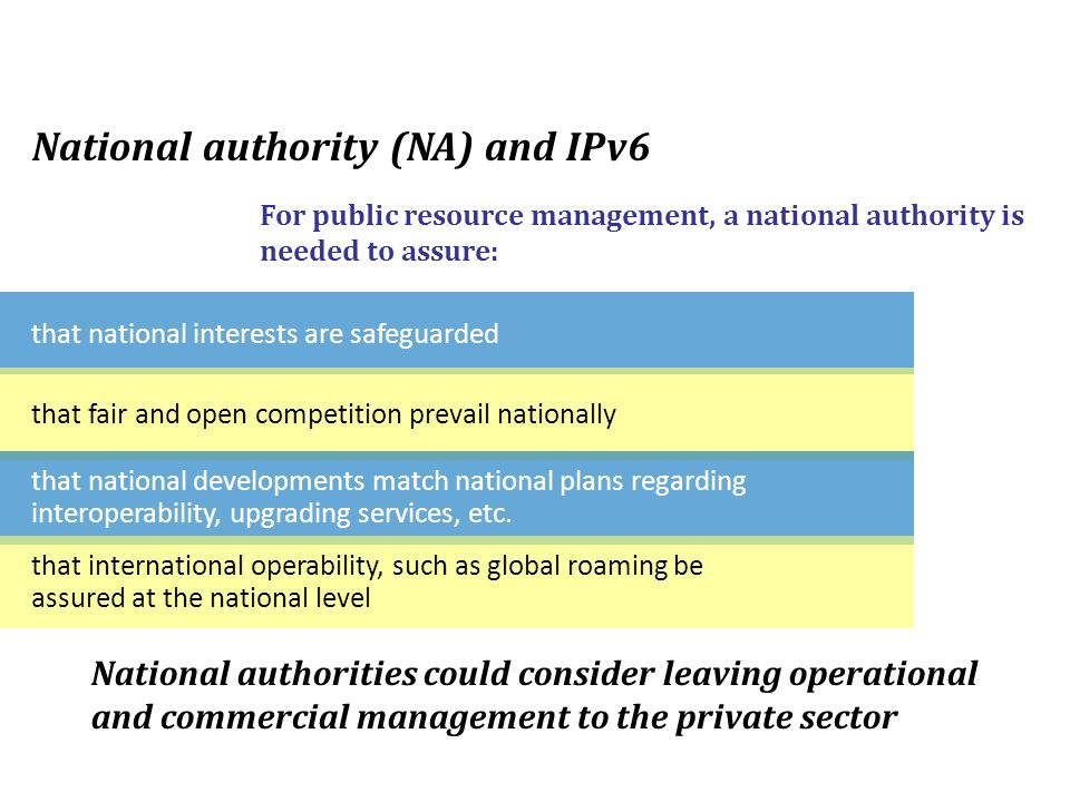 that national interests are safeguarded National authority (NA) and IPv6 For public resource management, a national authority is needed to assure: that fair and open competition prevail nationally that national developments match national plans regarding interoperability, upgrading services, etc.