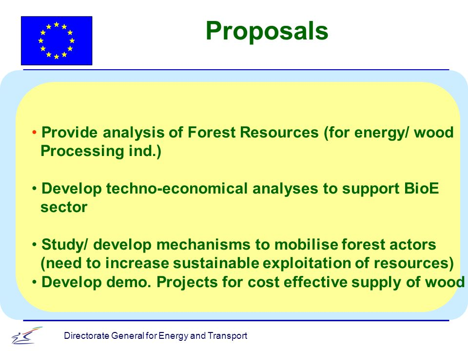 Directorate General for Energy and Transport Provide analysis of Forest Resources (for energy/ wood Processing ind.) Develop techno-economical analyses to support BioE sector Study/ develop mechanisms to mobilise forest actors (need to increase sustainable exploitation of resources) Develop demo.
