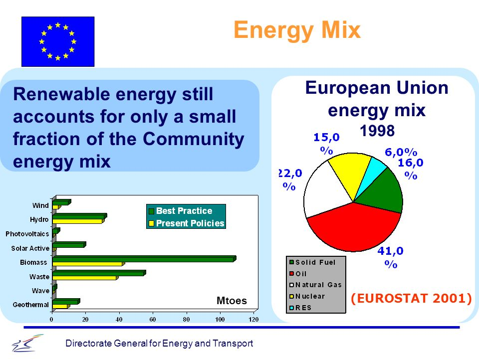 Directorate General for Energy and Transport Energy Mix European Union energy mix 1998 Renewable energy still accounts for only a small fraction of the Community energy mix (EUROSTAT 2001) Mtoes