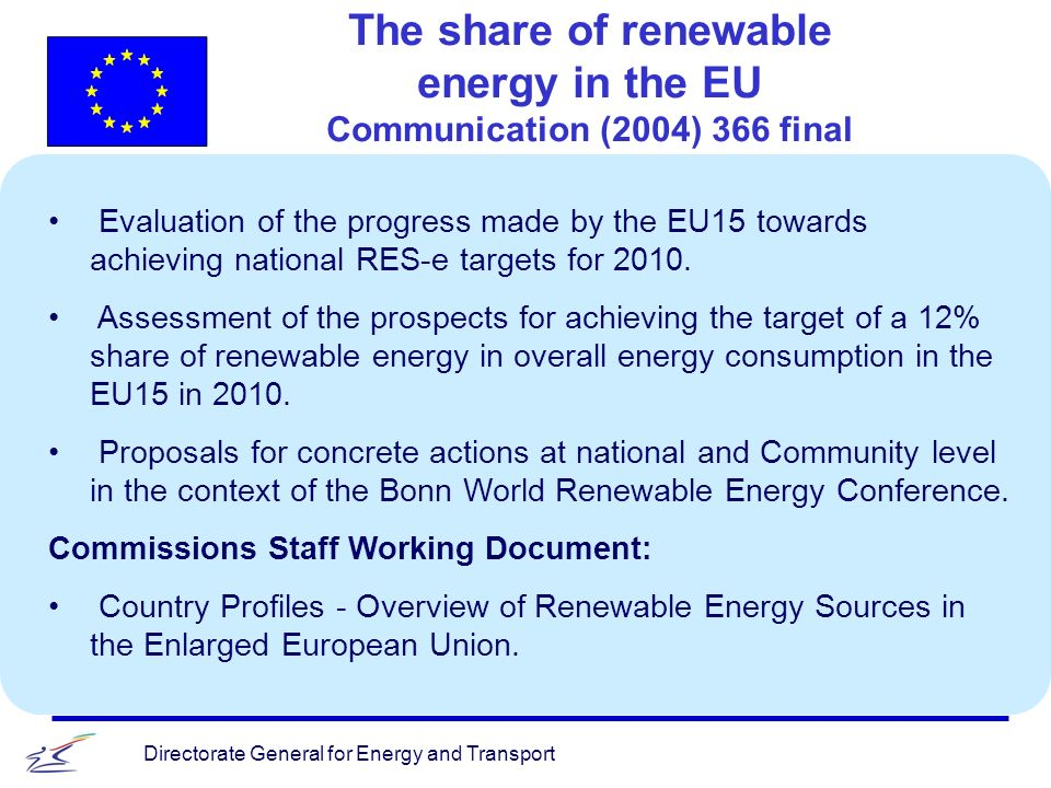 Directorate General for Energy and Transport The share of renewable energy in the EU Communication (2004) 366 final v Evaluation of the progress made by the EU15 towards achieving national RES-e targets for 2010.