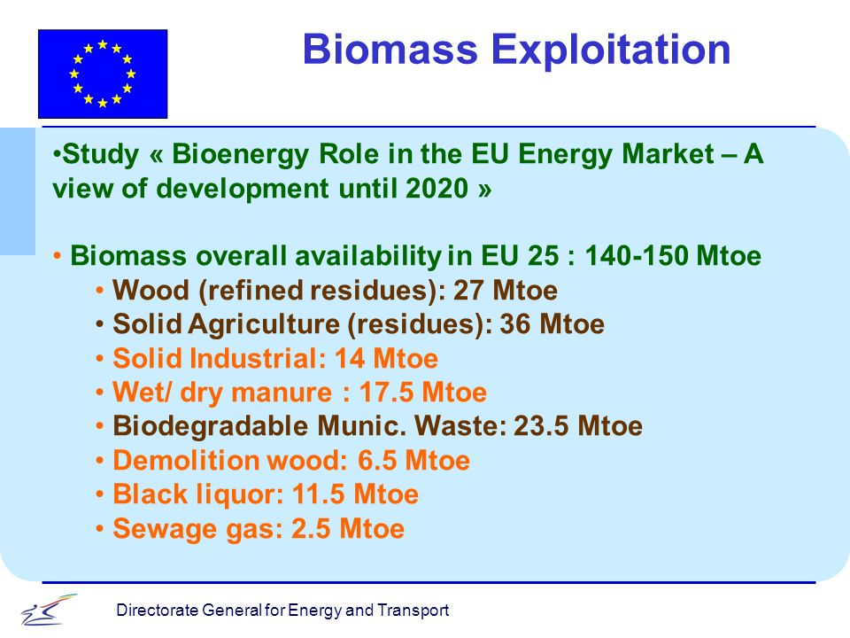 Directorate General for Energy and Transport Biomass Exploitation Study « Bioenergy Role in the EU Energy Market – A view of development until 2020 » Biomass overall availability in EU 25 : Mtoe Wood (refined residues): 27 Mtoe Solid Agriculture (residues): 36 Mtoe Solid Industrial: 14 Mtoe Wet/ dry manure : 17.5 Mtoe Biodegradable Munic.