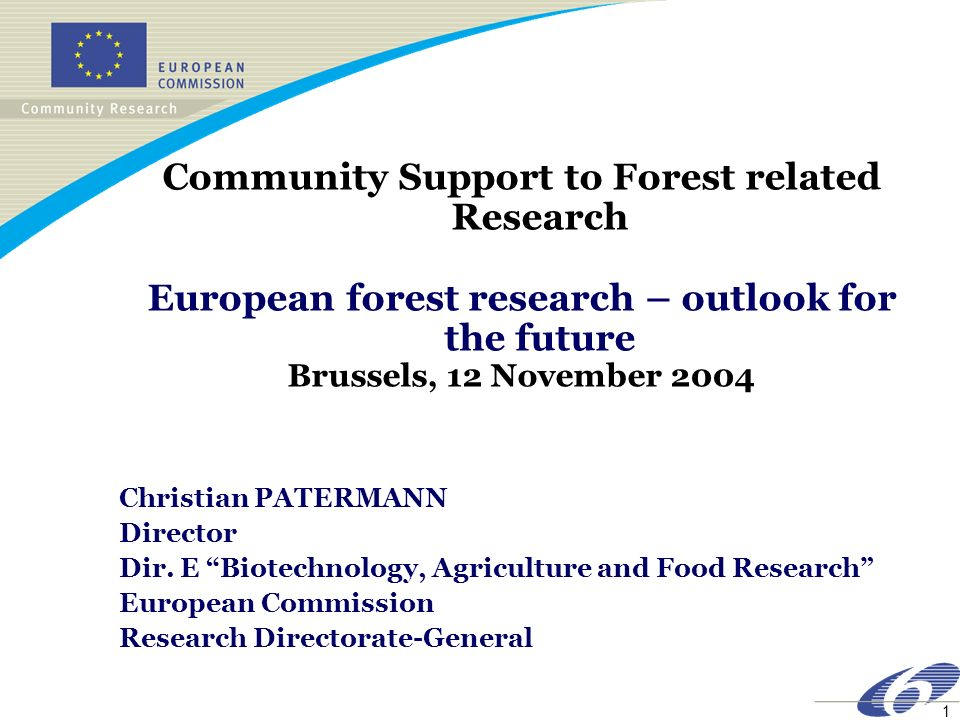 1 Community Support to Forest related Research European forest research – outlook for the future Brussels, 12 November 2004 Christian PATERMANN Director Dir.