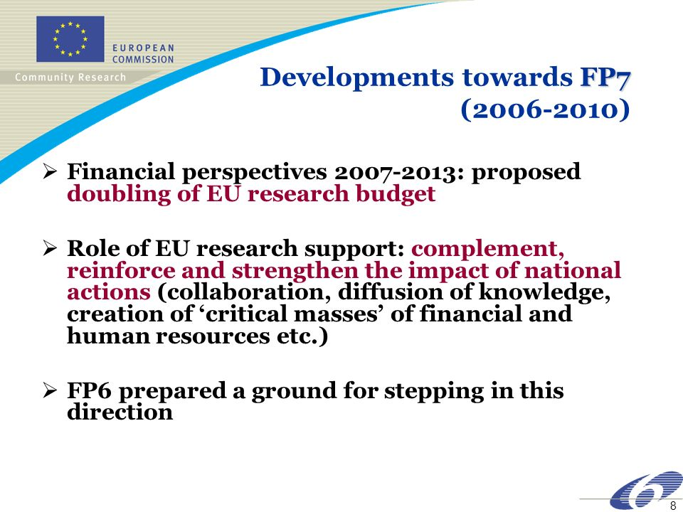8 FP7 Developments towards FP7 ( ) Financial perspectives : proposed doubling of EU research budget Role of EU research support: complement, reinforce and strengthen the impact of national actions (collaboration, diffusion of knowledge, creation of critical masses of financial and human resources etc.) FP6 prepared a ground for stepping in this direction