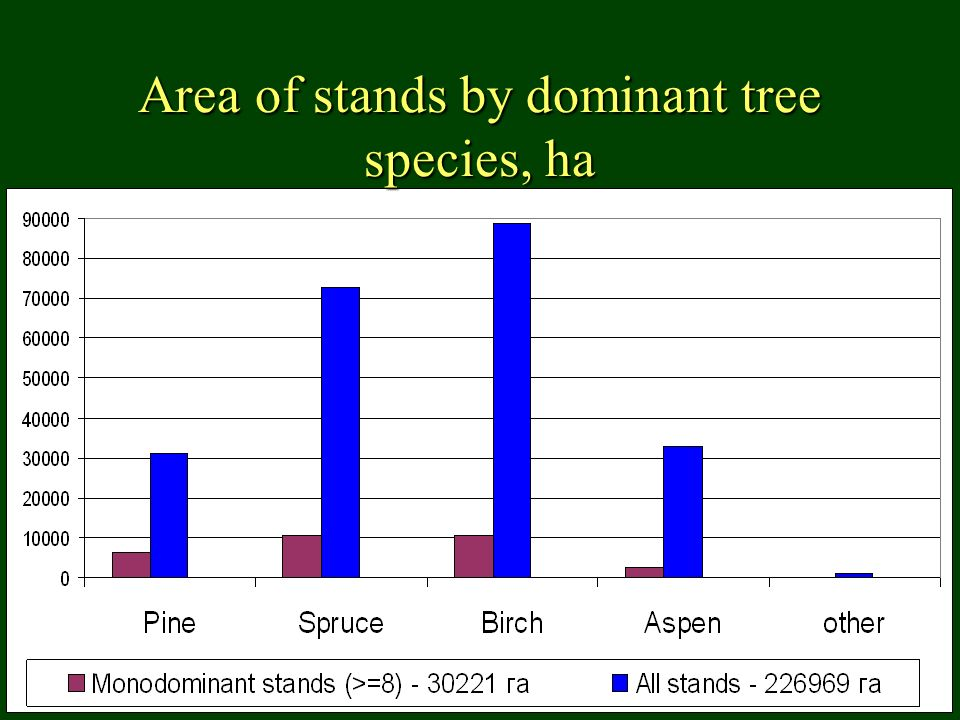 Area of stands by dominant tree species, ha
