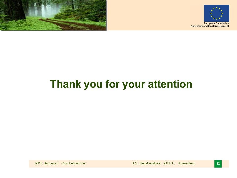 EFI Annual Conference 15 September 2010, Dresden 13 Thank you for your attention