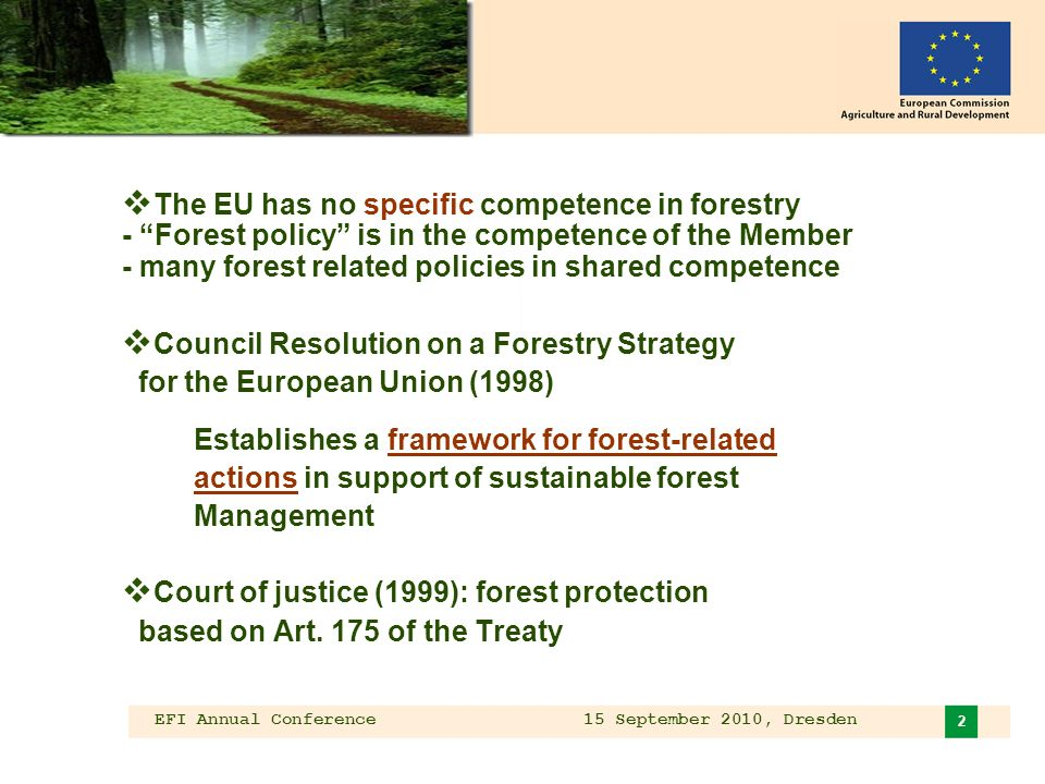 EFI Annual Conference 15 September 2010, Dresden 2 The EU has no specific competence in forestry - Forest policy is in the competence of the Member - many forest related policies in shared competence Council Resolution on a Forestry Strategy for the European Union (1998) Establishes a framework for forest-related actions in support of sustainable forest Management Court of justice (1999): forest protection based on Art.