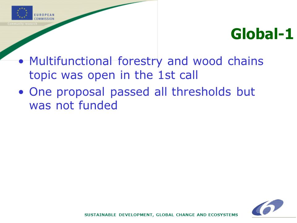 SUSTAINABLE DEVELOPMENT, GLOBAL CHANGE AND ECOSYSTEMS Global-1 Multifunctional forestry and wood chains topic was open in the 1st call One proposal passed all thresholds but was not funded