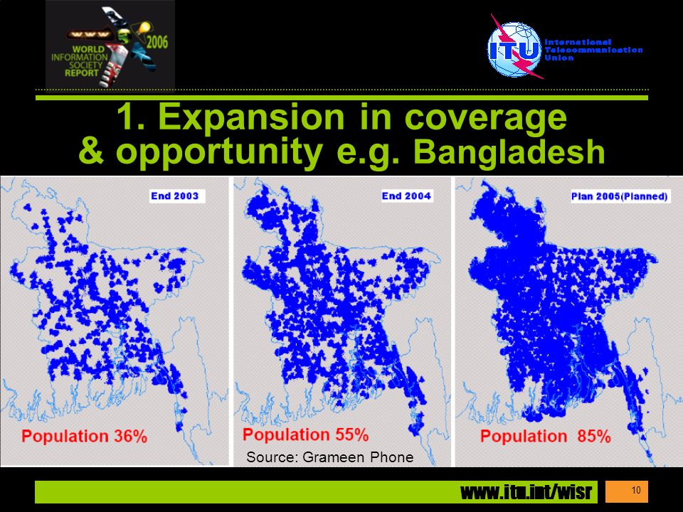 www.itu.int/wisr 10 1. Expansion in coverage & opportunity e.g. Bangladesh Source: Grameen Phone