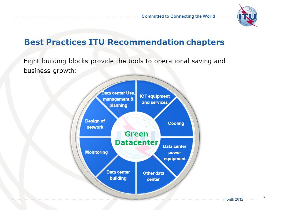 month 2012 Committed to Connecting the World Best Practices ITU Recommendation chapters Eight building blocks provide the tools to operational saving and business growth: 7 Green Datacenter ICT equipment and services Data center power equipment Other data center Cooling Data center building Design of network Monitoring Data center Use, management & planning