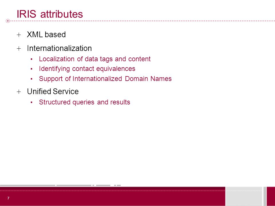 7 IRIS attributes + XML based + Internationalization Localization of data tags and content Identifying contact equivalences Support of Internationalized Domain Names + Unified Service Structured queries and results