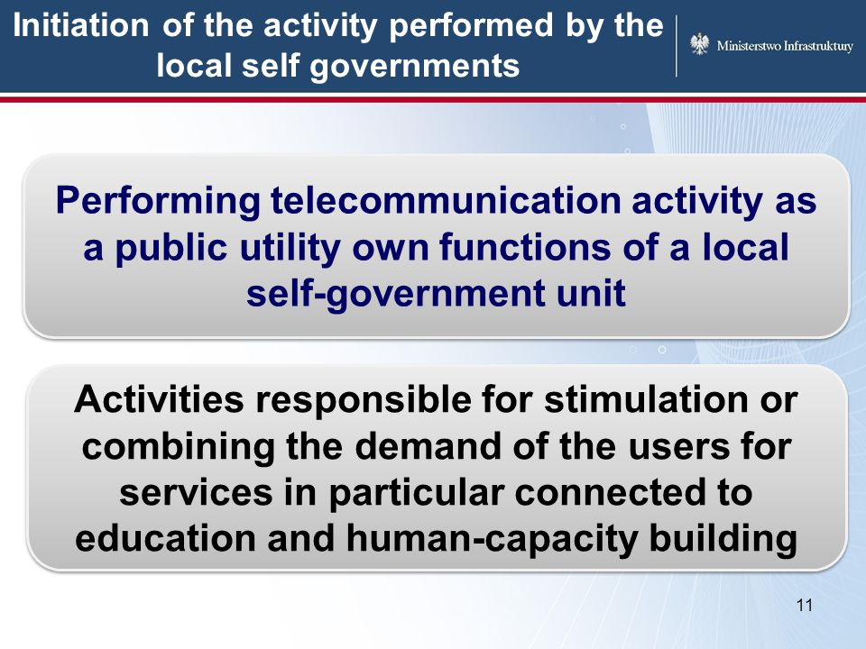 Initiation of the activity performed by the local self governments 11 Performing telecommunication activity as a public utility own functions of a local self-government unit Activities responsible for stimulation or combining the demand of the users for services in particular connected to education and human-capacity building