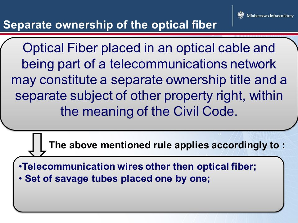 Separate ownership of the optical fiber Optical Fiber placed in an optical cable and being part of a telecommunications network may constitute a separate ownership title and a separate subject of other property right, within the meaning of the Civil Code.