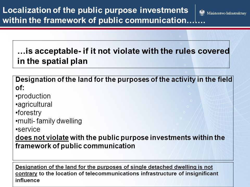 Localization of the public purpose investments within the framework of public communication…….
