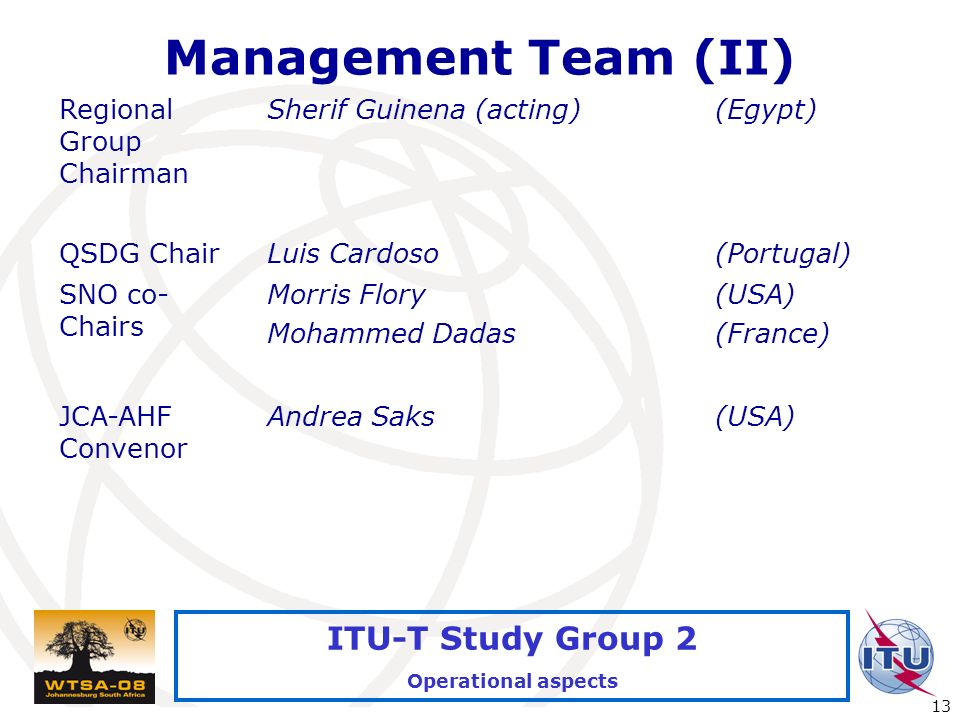 International Telecommunication Union 13 ITU-T Study Group 2 Operational aspects Management Team (II) Regional Group Chairman Sherif Guinena (acting)(Egypt) QSDG ChairLuis Cardoso(Portugal) SNO co- Chairs Morris Flory Mohammed Dadas (USA) (France) JCA-AHF Convenor Andrea Saks(USA)
