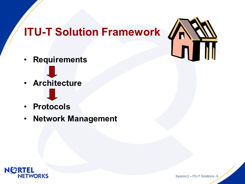 Session 2 – ITU-T Solutions - 5 Role of ITU-T Main body progressing standards related to transport and optical networks.
