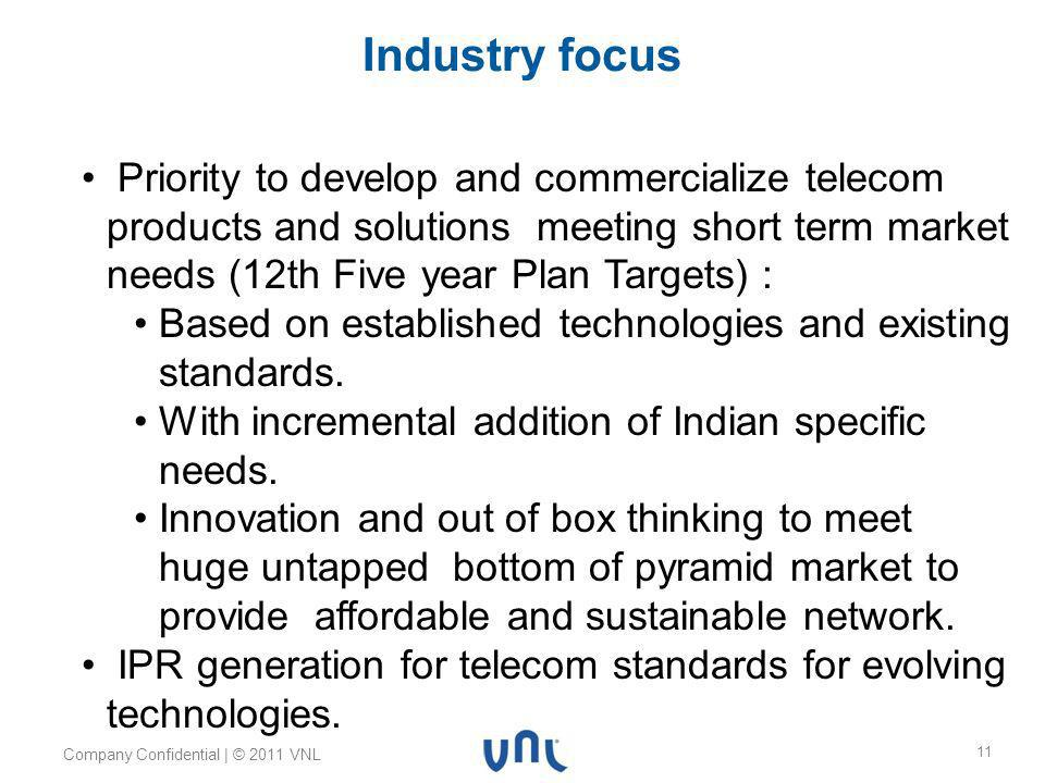 Body text 24pt Myriad Pro Footer 10pt Myriad Pro Header 32pt Myriad Pro Bold Company Confidential | © 2011 VNL 11 Industry focus Priority to develop and commercialize telecom products and solutions meeting short term market needs (12th Five year Plan Targets) : Based on established technologies and existing standards.