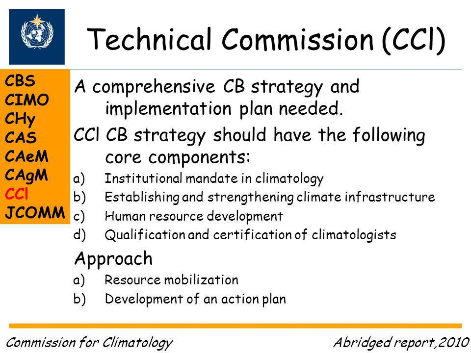 Technical Commission (CCl) CBS CIMO CHy CAS CAeM CAgM CCl JCOMM A comprehensive CB strategy and implementation plan needed.