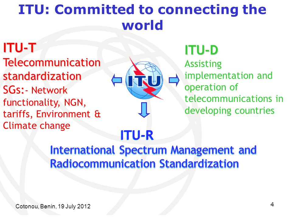 Cotonou, Benin, 19 July 2012 4 ITU: Committed to connecting the world ITU-T Telecommunication standardization : Telecommunication standardization SGs: - Network functionality, NGN, tariffs, Environment & Climate change ITU-R International Spectrum Management and Radiocommunication Standardization ITU-R International Spectrum Management and Radiocommunication Standardization ITU-D Assisting implementation and operation of telecommunications in developing countries