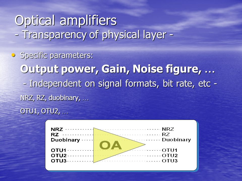 Optical amplifiers - Transparency of physical layer - Specific parameters: Specific parameters: Output power, Gain, Noise figure, … - Independent on signal formats, bit rate, etc - - Independent on signal formats, bit rate, etc - NRZ, RZ, duobinary, … OTU1, OTU2, …