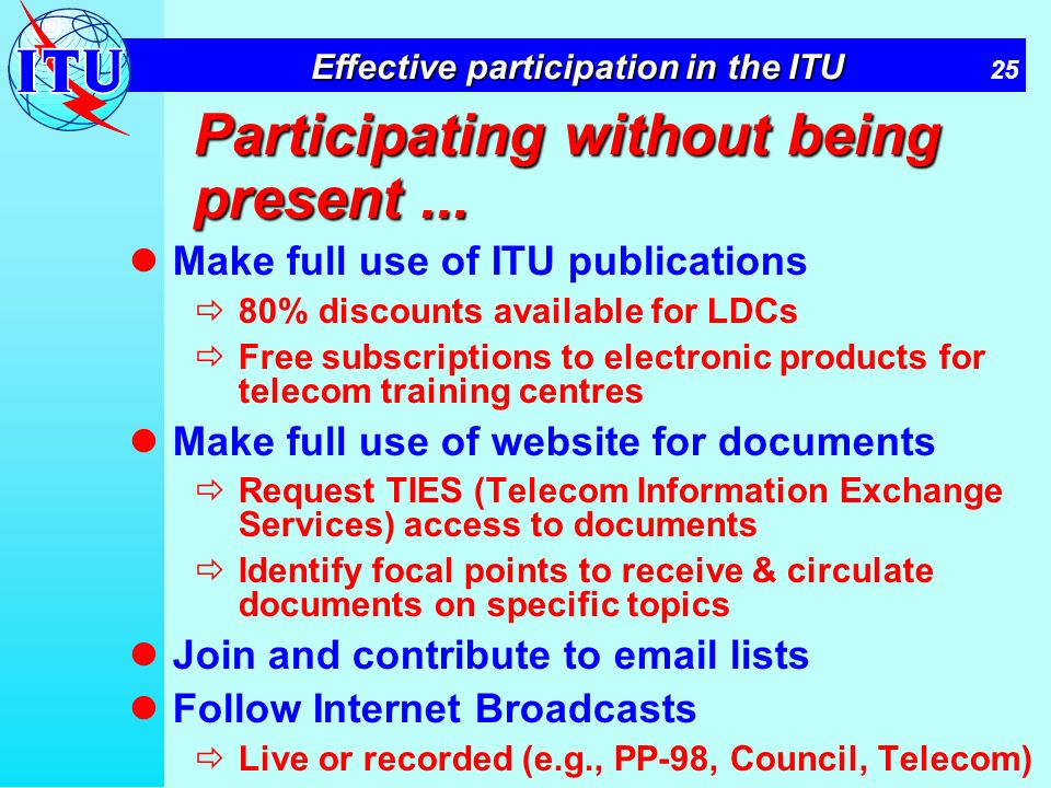 25 Effective participation in the ITU Participating without being present...