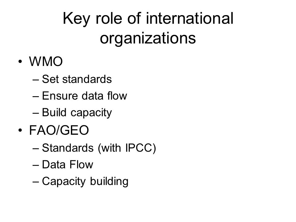 Key role of international organizations WMO –Set standards –Ensure data flow –Build capacity FAO/GEO –Standards (with IPCC) –Data Flow –Capacity building